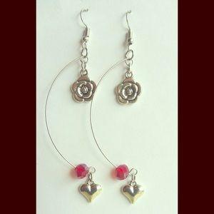 Handmade Crescent Dangling Earrings w/Rose & Heart